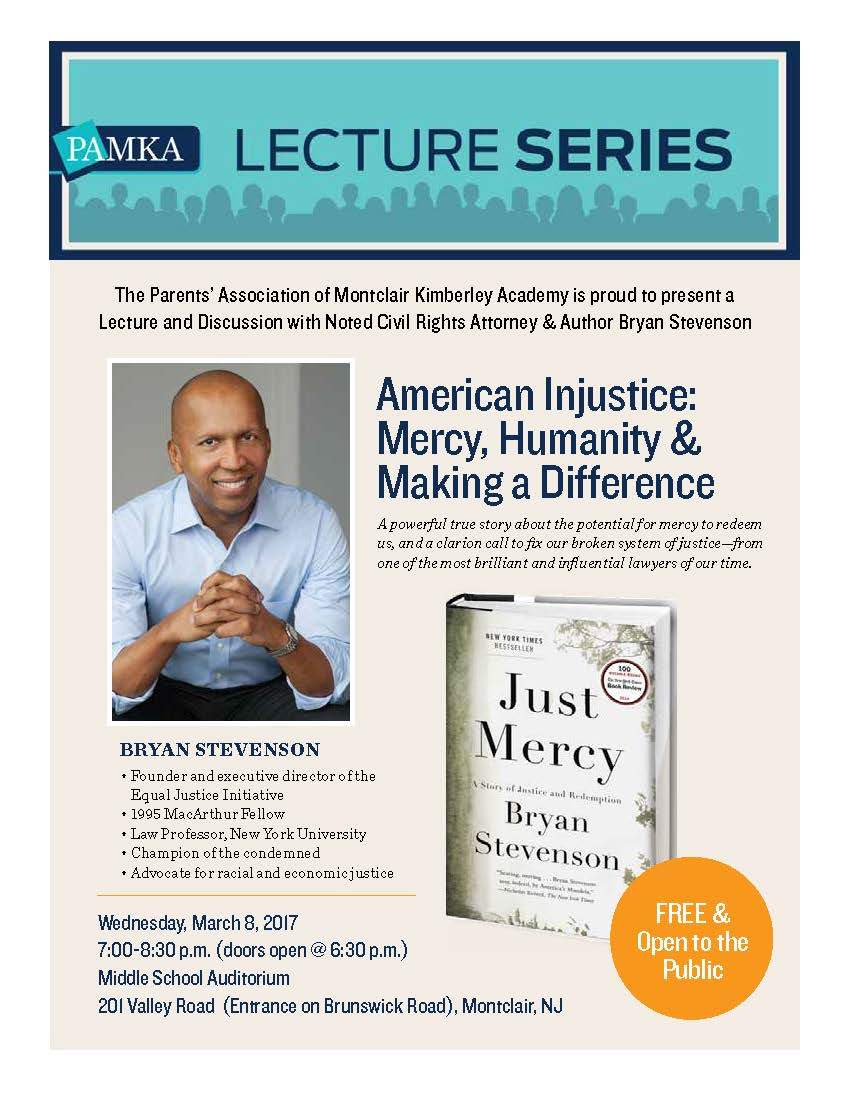 Join us on March 8th for a lecture and discussion with social justice and human rights advocate Bryan Stevenson!